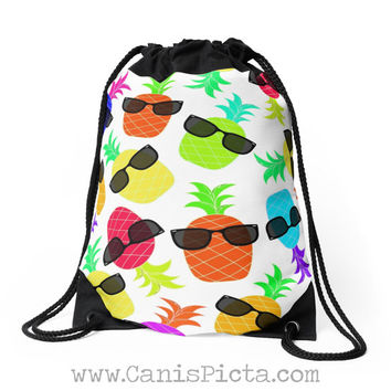 Pineapple Funky Fruit Drawstring Bag Backpack Bright Humor Funny Black Sunglasses Shades Ananas Tote Purse Pink Orange Green Yellow Tropical
