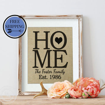 Fathers Day Gift |  Personalized Burlap Wall Decor | Housewarming Gift | Gift for Dad | Family Name Sign | New House Gift | Gift for Him