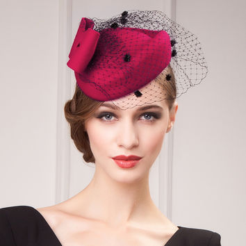 2016 New Australian Small Wool Felt Fedora Hat for women Fashion Bow Ladies Elegant Party Wedding Hats with Net Crapes Red Black