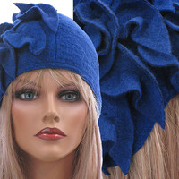 Artistic boho womens winter hat / cap in cobalt blue / soft boiled wool / size M - strtched up to L-XL / with leaves