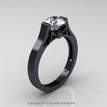 Modern 14K Black Gold Luxurious and Simple Engagement Ring or Wedding Ring with a 1.0 Ct White Sapphire Center Stone R668-14KBGWS
