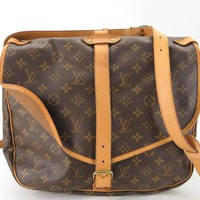 AUTH LOUIS VUITTON M42254 MONOGRAM SAUMUR 35 SHOULDER BAG EY464