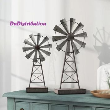 Farmhouse Style Windmill Decor Set of 2 Table Top Mantle Rustic Galvanized