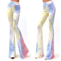 Women Vintage Bell Bottom Pants Printed Lounge Stretch  Hippie Boho Trousers