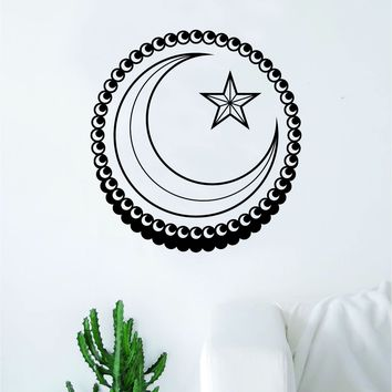 Star Crescent Moon Decal Sticker Wall Vinyl Art Home Decor Inspirational Kids Nursery Teen Religious