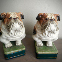 Pair of vintage Takahashi San Francisco bulldog book ends, ceramic figurines made in Japan, dog home goods