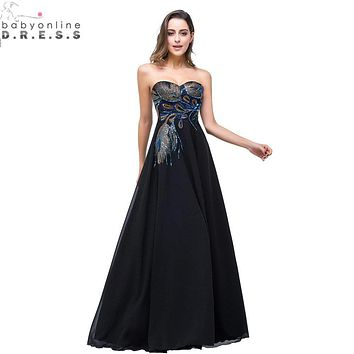 Sweetheart Peacock Embroidery Long Black Evening Dresses 2017 Real Photo robe de soiree Formal Maternity Dresses Long Gowns