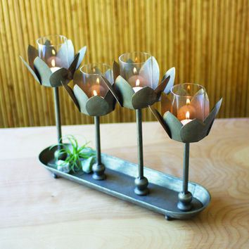 Four Metal Flower Candle Holders with Tray Base