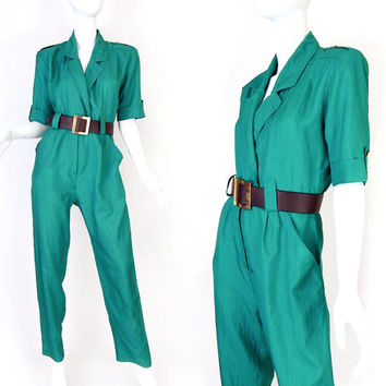 Vintage 80s Teal Green Women's Jumpsuit - Size Small - High Waisted Blue Green Nylon Ladies 1980s Romper