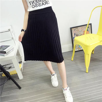 Women's Cute Pleated Korean Midi Skirt 2017 Autumn Winter Casual High Waist Stretchy Knitted Cotton Wool Slim Black Skirts SK104