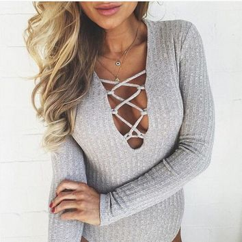 2017 New Fashion Sexy Womens Bodysuits Long Sleeve Deep V Neck Knitted Bandage Bodycon Tight Short Jumpsuits