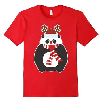 Christmas Panda Bear Shirt Holiday Santa Hat Reindeer Antler