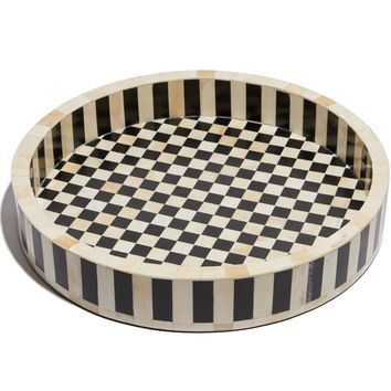 CHECKERED & STRIPED SERVING TRAY