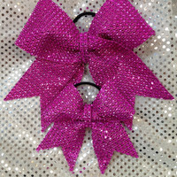 Big Sis/lil sister rhinestone Cheer/Dance Bow Ribbon & Matching Bow (set of 2)