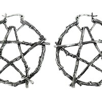 Gothic Witch Occult Wiccan Branch Pentagram Earrings