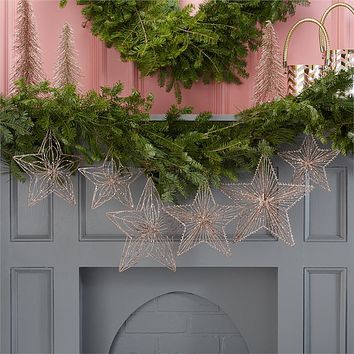 TWO'S COMPANY ASSORTED S/3 GLITTER HANGING STARS