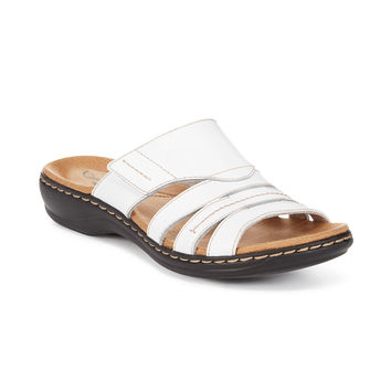 CLARKS LEISA GROVE FLAT SANDALS WHITE 8M