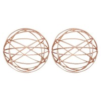 Set of 2 Decorative Metal Balls - Copper Finish