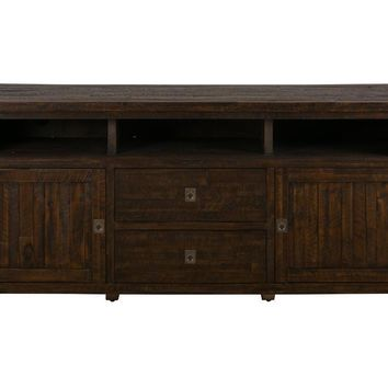 Wooden Media Unit with Rough-Hewn Saw Marks, Chocolate Brown - BM181523