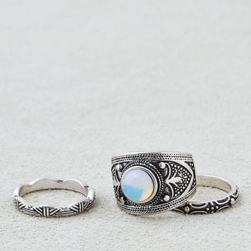 AEO Etched Opal Rings 3-Pack, Silver