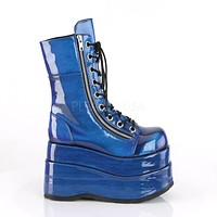 "Bear 265 Blue Hologram 4.5"" Goth Punk Rock Platform Lace Up Knee Boot 6-12"