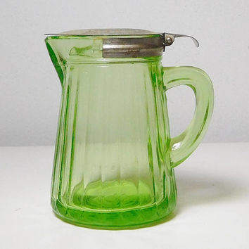 Functional Green Depression Glass Small Pitcher Sugar Cream Ribbed spring loaded lid Vintage Antique Retro Decor No Chips Cracks