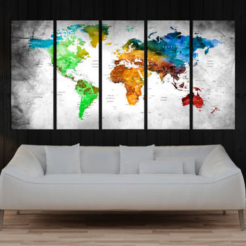 Push Pin world map wall art canvas,  travel map, large wall art canvas, wall art print, wall decor  No:9S50