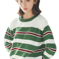 Stripe Knitted Long Sleeve Pullover Sweater For Woman