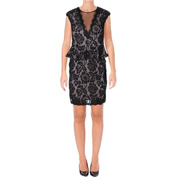 Betsy & Adam Womens V Neck Lace Cocktail Dress