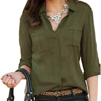 Fashion Women OL Turn-down Collar Long Sleeve Chiffon Blouse Tops Casual Loose Pocket Shirts Blusas Plus Size S-3XL