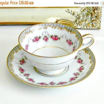 ON SALE Vintage Noritake Teacup, Noritake Ridgewood 5201, White Porcelain Teacup with Pink Roses, Gilt Trim.