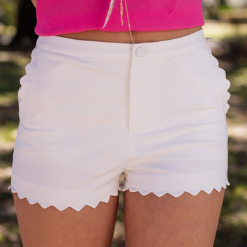 Scalloped In Love White Shorts