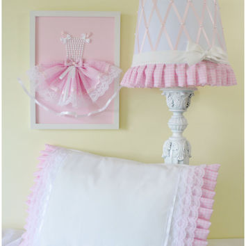 Girls room decor set. Lamp shade, decorative pillow, princess dress wall art. Set of 3