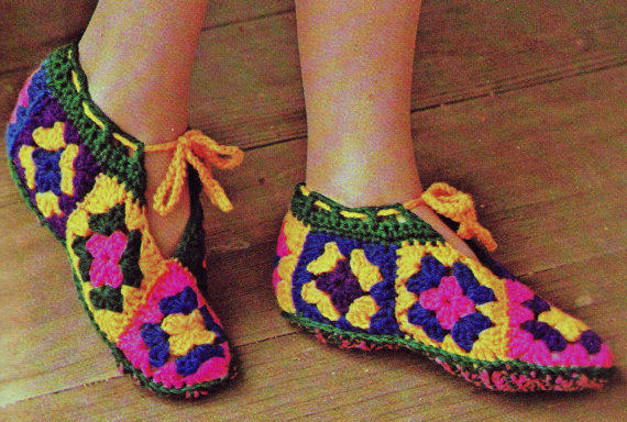 Vintage Crochet Boot Slippers Pattern From