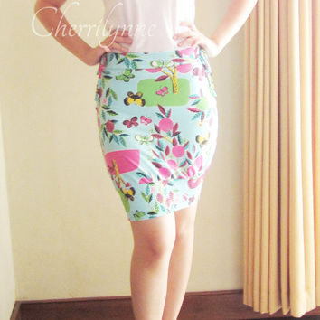 Bodycon Skirt with Smocking Detail  one of a kind by Cherrilynne