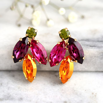 Multi Color Earrings, Bridal Multi Color Earrings, Swarovski Earrings, Gift For Her, Bridesmaids Earrings, Purple Orange Stud Earrings