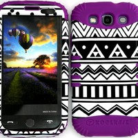 Hybrid Impact Rugged Black and White Aztec Tribal Case on Purple for Samsung Galaxy Slll S3 Rubber Hard Cover Fits Sprint L710, Verizon I535, At&t I747, T-mobile T999, Us Cellular R530, Metro Pcs and All.