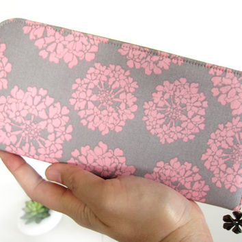 VEGAN WALLET, Womens Wallet on Pink Hydrangea pattern, Sweet color. Women's Wallet Clutch, Wallets for your goodies Safety and Be You.!!