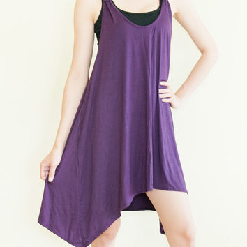Sexy Sleeveless Top Drape Soft Stretchy Heavy Jersey Rayon Spandex (Purple)