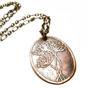 Queen Anne's Lace Necklace- Botanical Etched Copper Oval Pendant