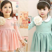 Girls Big Flower Noble Princess Dress/Baby Lapel Dress New Autumn Spring Children Long Sleeve Beaded Dresses Kids' Clothes 2colors 5pcs/lot