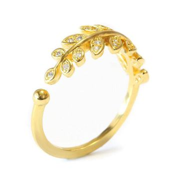 Diamond Leaves Band, Gold Leaves Ring, Gold Olive Branch Ring, Open Wrap Ring, Natural Diamonds Ring, Pave Diamond Ring, Gold Twig Ring