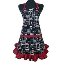 The Walking Dead , Retro Style Kitchen Apron for Women , Black and Red Stripe Ruffle
