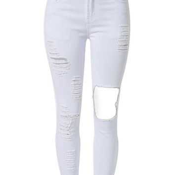 White Cut Out Extreme Rips Detail Skinny Jeans