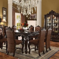 7 pc versailles collection cherry oak finish wood counter height dining table set