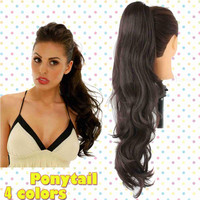 26 inch Synthetic Long Lady Women Curly Wavy Claw Clip Ponytail Pony Tail Hair Extension Dark Brown Heat Resistant  PT305