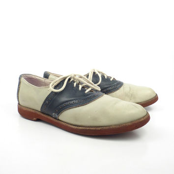 Saddle Oxford Shoes Leather Vintage 1980s Navy And Tan Women's size 10 M