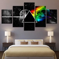 5 Panel Pink Floyd Rock Music Picture Wall Art Print Home Decor For Living Room