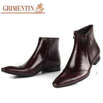 Italian Leather Boots Pointed Toe Zip Snake skin Boots