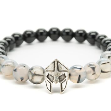 Black Onyx and Gray Agate Gemstones Beaded Bracelet for Men and Women